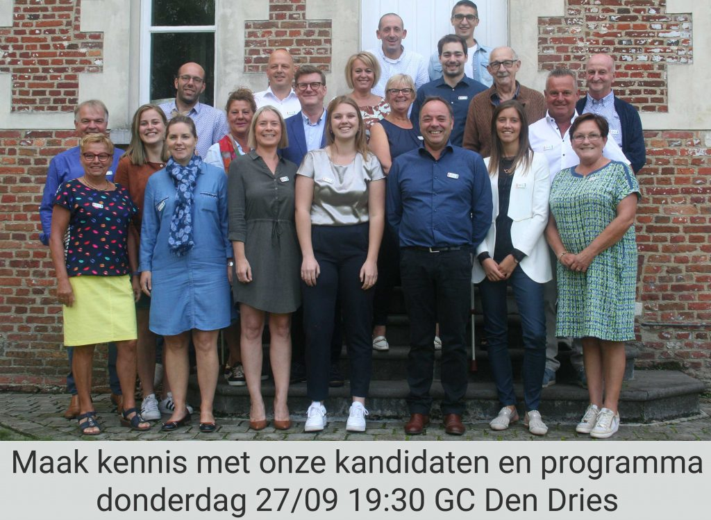 Uitnodiging voor de voorstelling van de partij op 27/09 om 19:30 in GC Den Dries